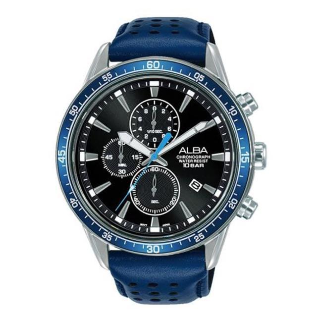 【ALBA】雅柏三眼計時皮帶手錶-藍-44mm(AM3835X1/VD57-X193B)