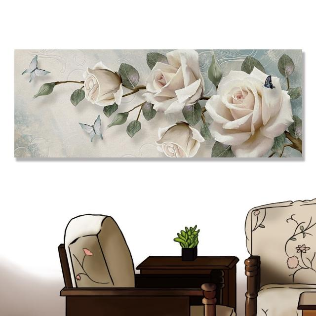【24mama 掛畫】單聯式 油畫布 花卉 昆蟲 蝴蝶 美麗 開花 無框畫-80x30cm(玫瑰)