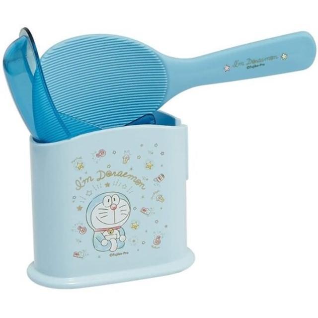 【小禮堂】哆啦A夢 日製 塑膠飯匙 附盒 飯勺 挖匙 餐具盒 《藍 眨眼》
