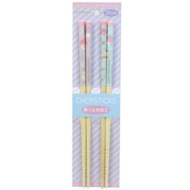 【小禮堂】雙子星 天然竹筷組 木筷 成人筷 環保筷 21cm 《2入 紫 睡帽》