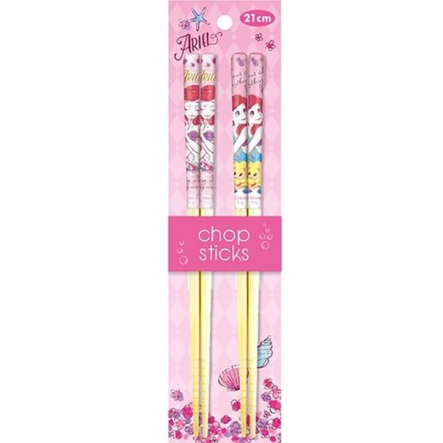 【小禮堂】迪士尼 小美人魚 木筷組 竹筷 環保筷 21cm 《2入 粉 花朵》