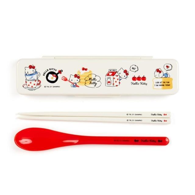 【小禮堂】Hello Kitty 日製 盒裝兩件式餐具組 匙筷 塑膠餐具 環保餐具 《米 2021新生活》
