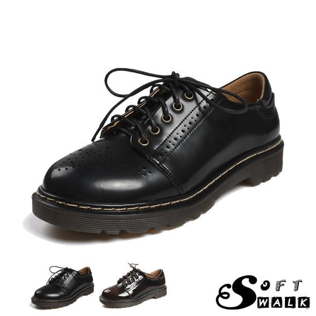 【SOFT WALK 舒步】真皮牛津鞋 粗跟牛津鞋/真皮復古英倫風布洛克雕花森林系粗跟牛津鞋(2色任選)