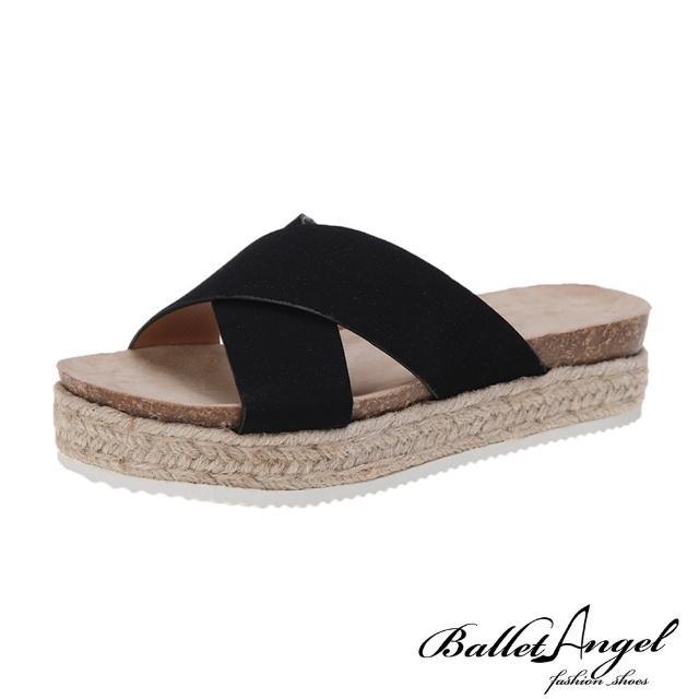 【BalletAngel】涼鞋 簡約交叉厚底楔型涼拖鞋(黑)