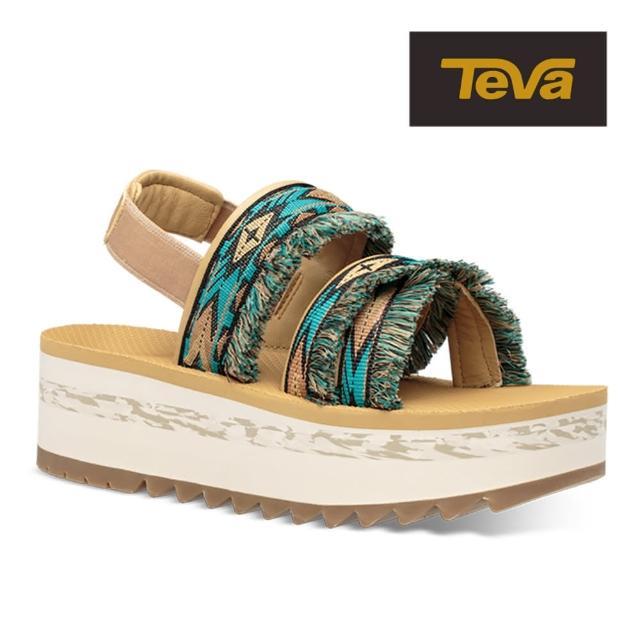 【TEVA】原廠貨 女 Flatform Ceres 流蘇織帶厚底涼鞋/雨鞋/水鞋(雙水藍鑽-TV1106851DDTB)