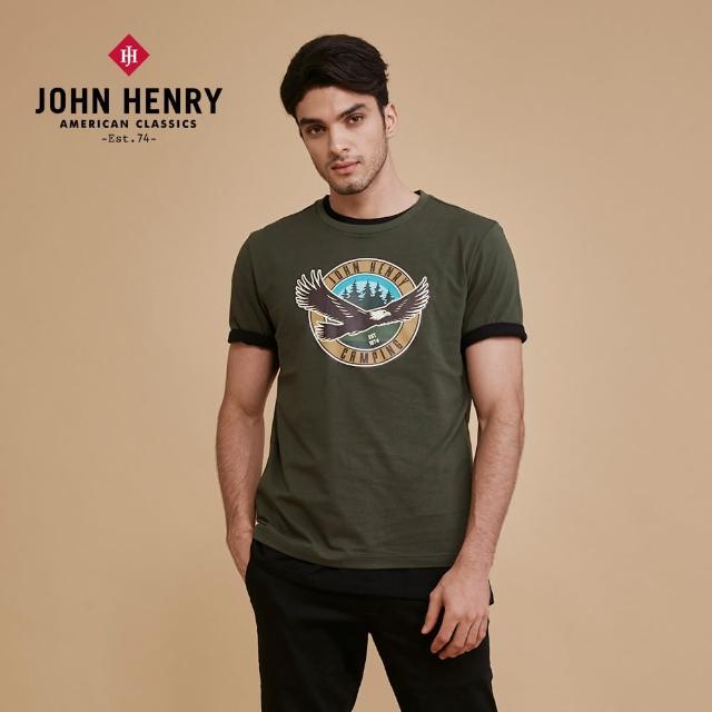 【JOHN HENRY】飛鷹印圖短袖T恤-綠