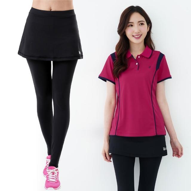【遊遍天下】台灣製女款3D顯瘦吸排假兩件式彈力美腿褲GP1020黑色(M-2L)