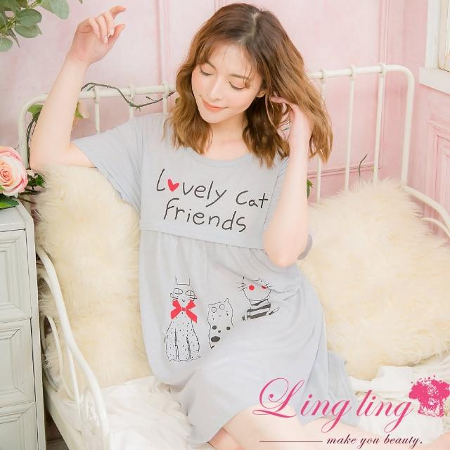 【lingling】PA4091全尺碼-英字素色小貓後綁帶哺乳孕婦棉質短袖連身睡衣(文靜淺灰)