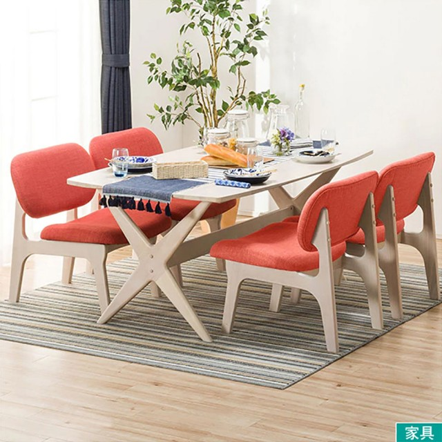 【NITORI 宜得利家居】◎實木餐桌椅五件組 RELAX WW/OR 橡膠木(餐桌 餐椅 餐桌椅組)