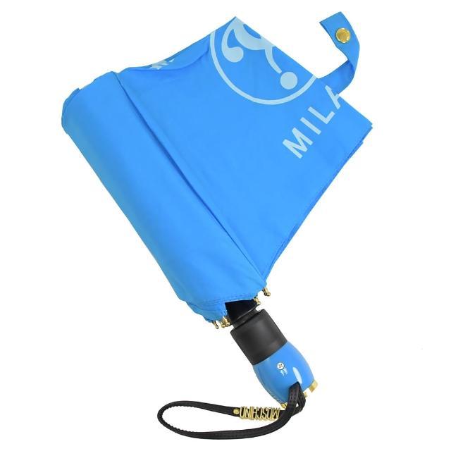 【MOSCHINO】品牌LOGO素雅自動開收長把晴雨傘(藍)