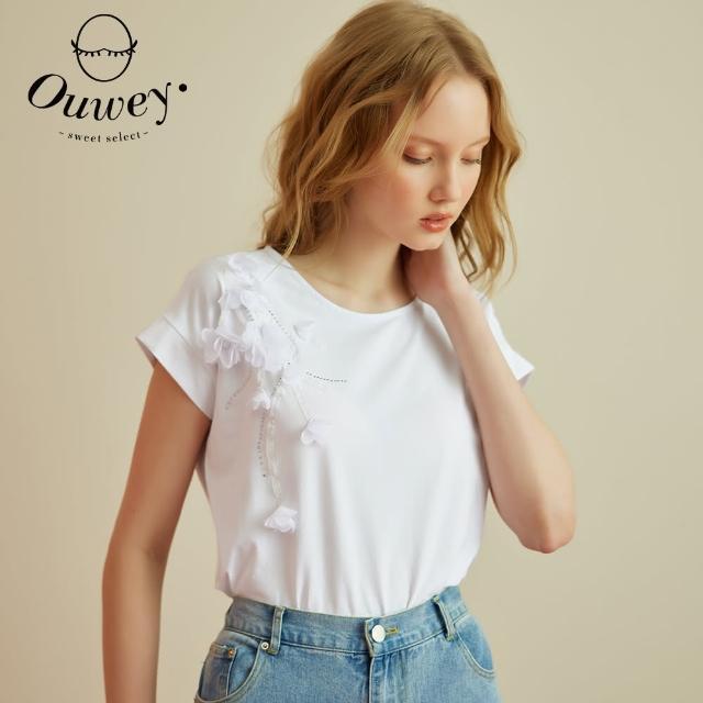 【OUWEY 歐薇】手縫花朵燙鑽棉質上衣3212061263(白)