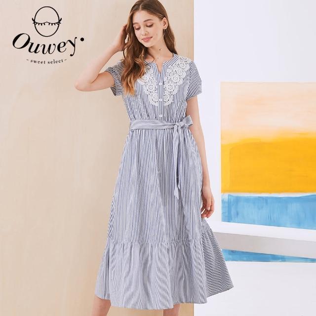 【OUWEY 歐薇】緹花蕾絲領造型條紋純棉綁帶洋裝3212027738(藍)