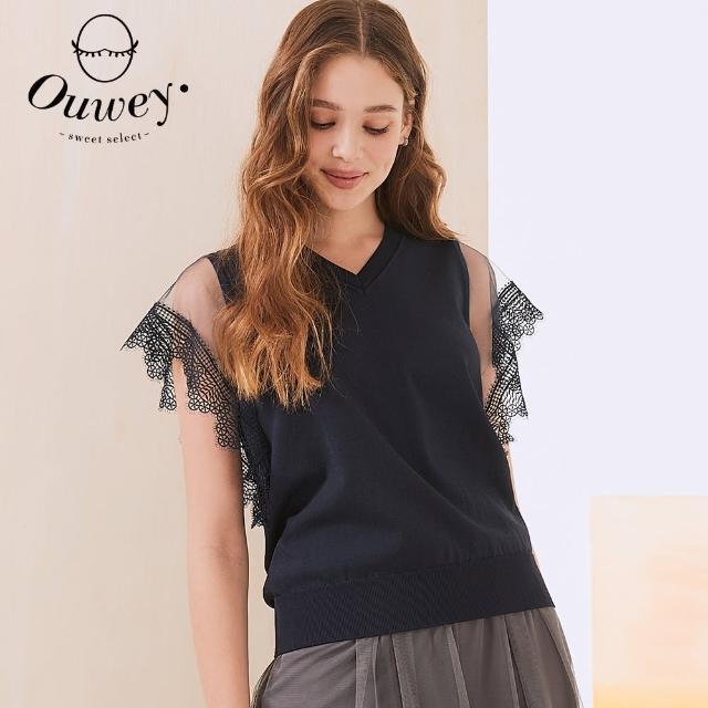 【OUWEY 歐薇】水溶蕾絲縷空袖型針織上衣3212165040(深藍)