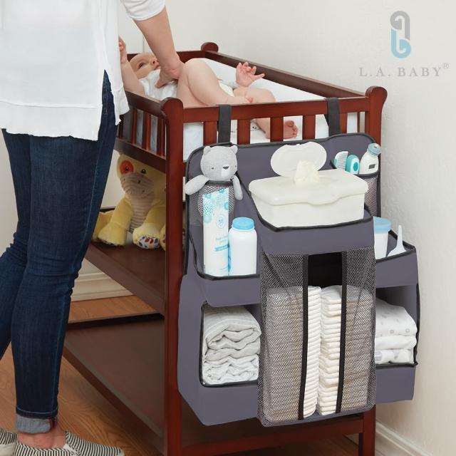 【L.A. Baby】大容量多隔層置物收納袋 多場域適用(白色 灰色)