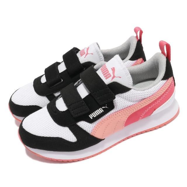 【PUMA】休閒鞋 R78 V PS 魔鬼氈 童鞋 經典 復古 慢跑鞋型 免綁鞋帶 中童 白 粉(373617-15)