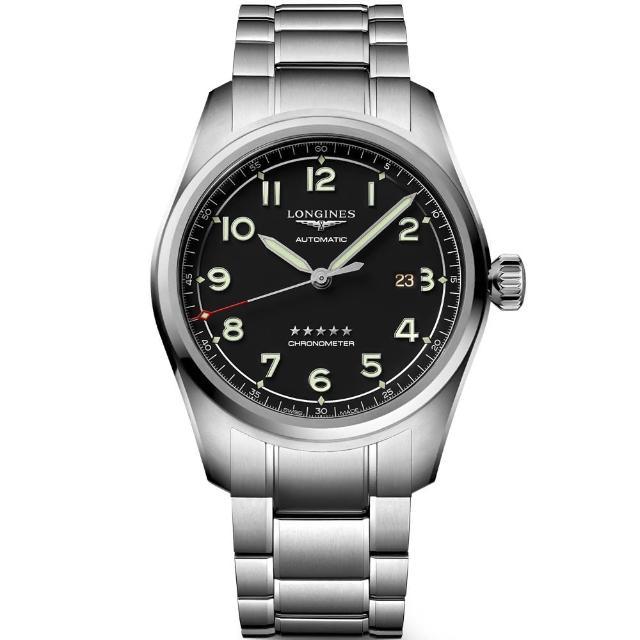 【LONGINES 浪琴】Spirit 先行者系列飛行員機械錶-黑/42mm(L38114536)