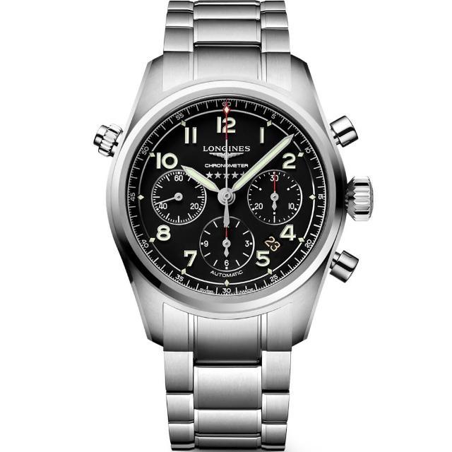 【LONGINES 浪琴】Spirit 先行者系列飛行員計時機械錶-黑/42mm(L38204536)