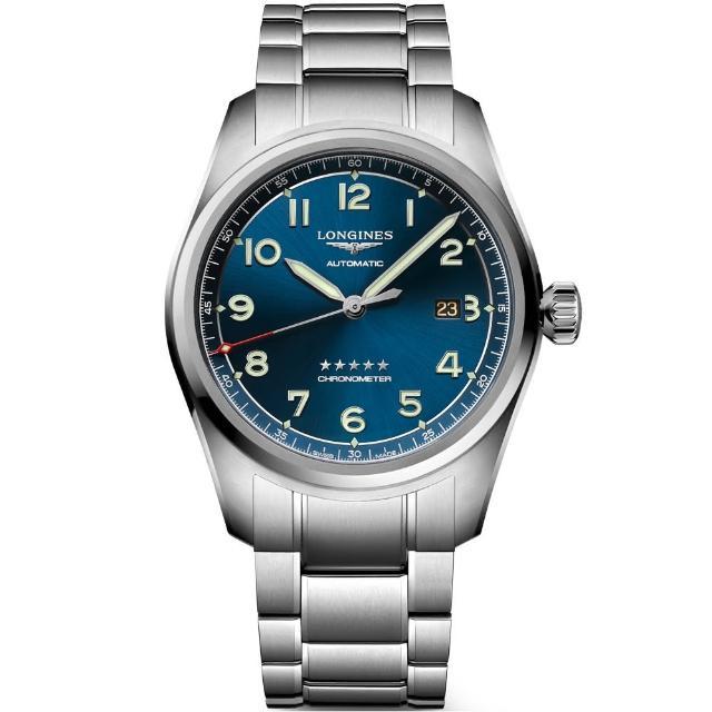 【LONGINES 浪琴】Spirit 先行者系列飛行員機械錶-藍/42mm(L38114936)
