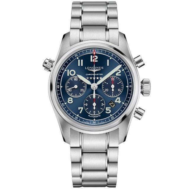 【LONGINES 浪琴】Spirit 先行者系列飛行員計時機械錶-銀x藍/42mm(L38204936)