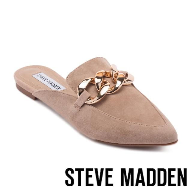 【STEVE MADDEN】FINN 飾釦尖頭平底穆勒拖鞋(卡其)