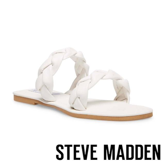 【STEVE MADDEN】ALONNA 麻花編雙帶涼拖鞋(白色)