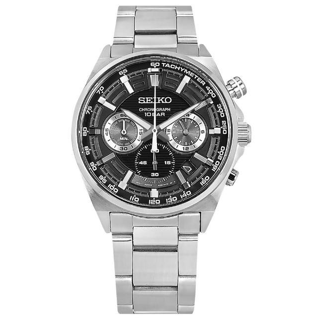 【SEIKO 精工】經典條紋 三眼計時 日期 防水100米 不鏽鋼手錶 黑色 41mm(8T63-00T0D.SSB397P1)