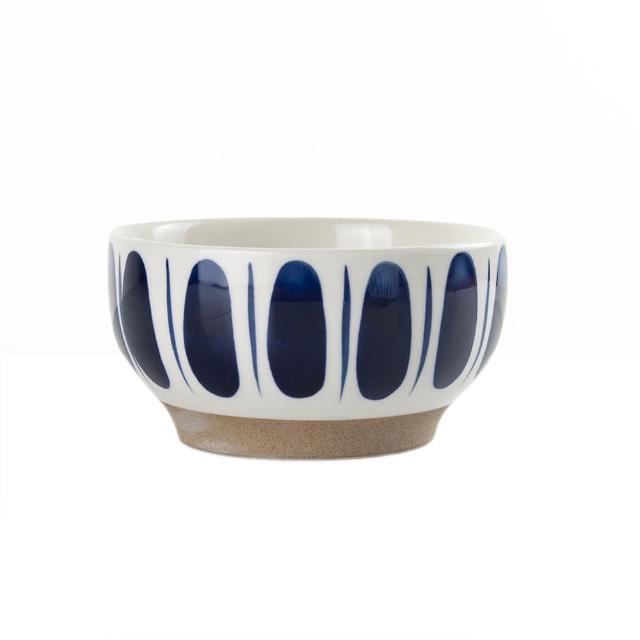 【Royal Duke】復古手繪藍彩系列-4.75吋碗-樹葉 2入組(復古 彩繪 樹葉 陶瓷 小碗 飯碗 買一送一)