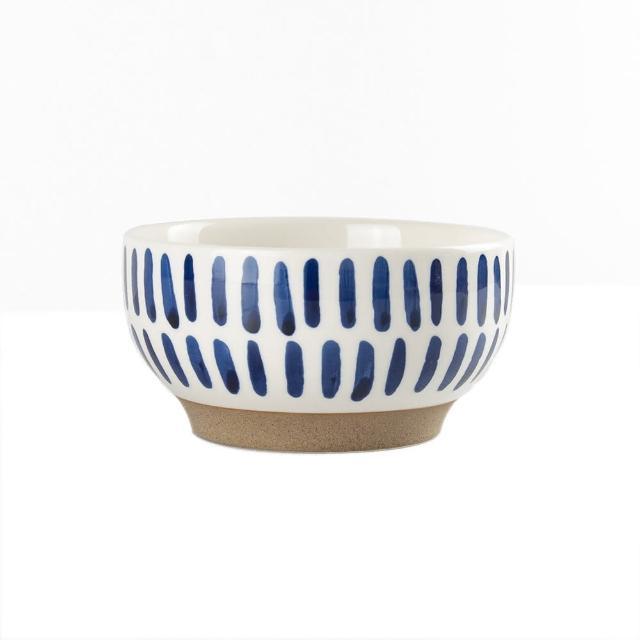 【Royal Duke】復古手繪藍彩系列-4.75吋碗-豎紋 2入組(復古 彩繪 條紋 陶瓷 花生 小碗 飯碗 買一送一)