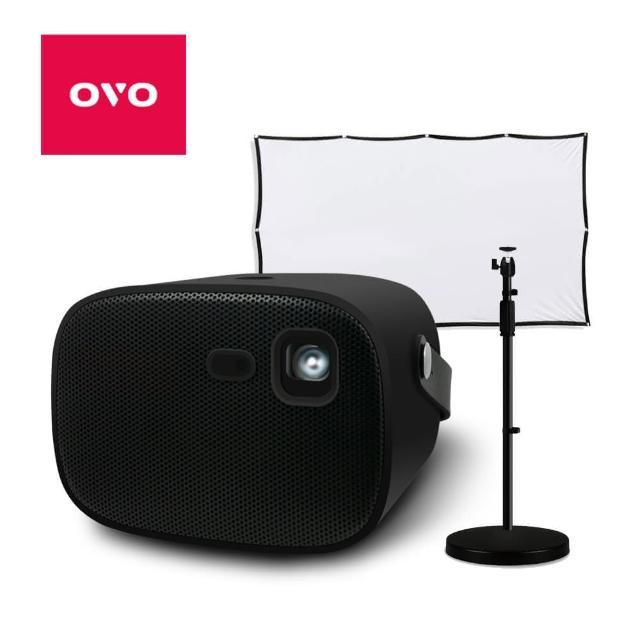★歡唱露營組★【OVO】掌上型無框電視(U5 智慧投影機 黑色)