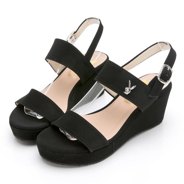 【PLAYBOY】玩美小時光 一字帶楔型增高涼鞋-黑-YD7323CC