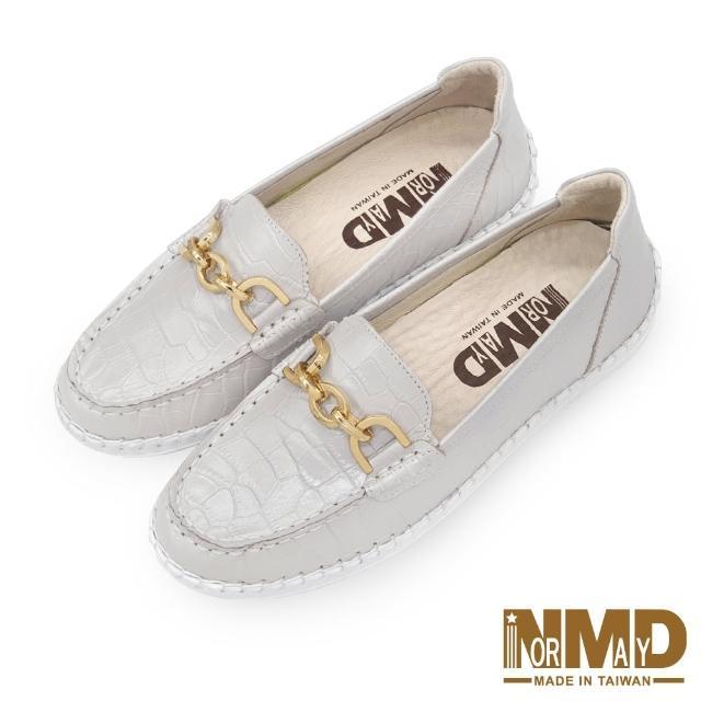 【Normady 諾曼地】女鞋 休閒鞋 懶人鞋 樂福鞋 MIT台灣製 真皮鞋 鍊條款磁力厚底氣墊球囊鞋(珍珠白)