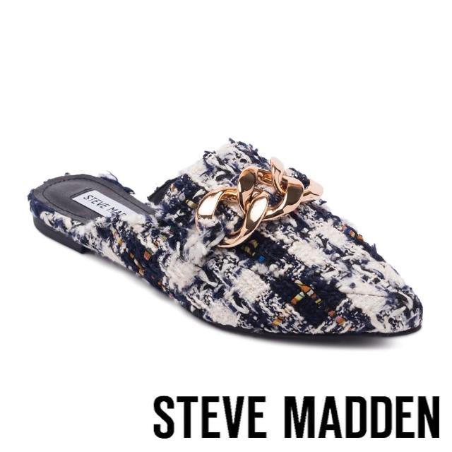 【STEVE MADDEN】FINN 飾釦尖頭平底穆勒拖鞋(格紋藍)