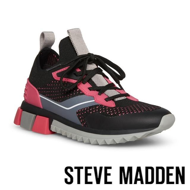 【STEVE MADDEN】DRIBBLE 拼接網布休閒鞋(黑粉色)