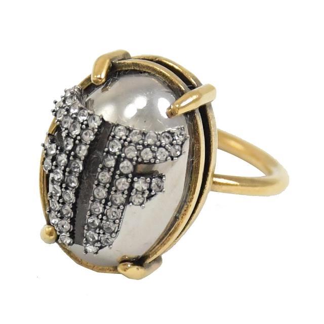 【FENDI 芬迪】經典雙F LOGO排列造型水鑽復古戒指(古銅金)