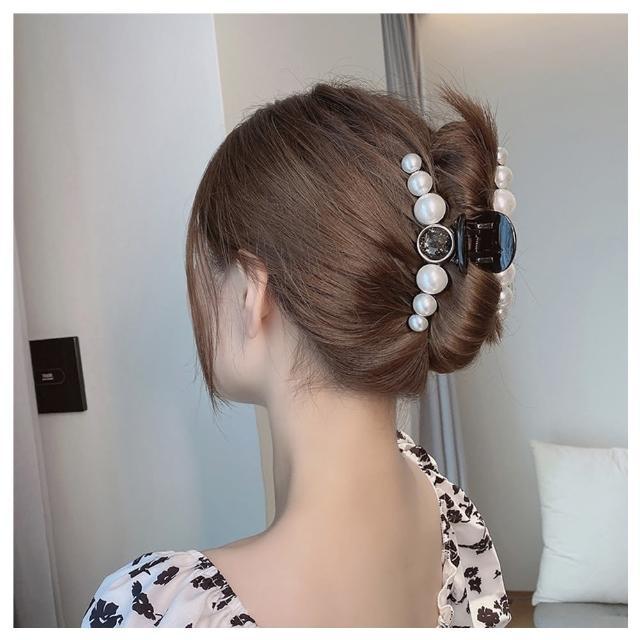 【HaNA 梨花】韓國夏日盤髮祭圓寶石.宅家美女珍珠排飾抓夾