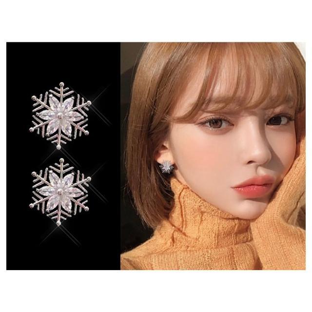 【HaNA 梨花】耳針/耳夾款韓國雪花飄飄全鑽飾.晶瑩剔透耳環