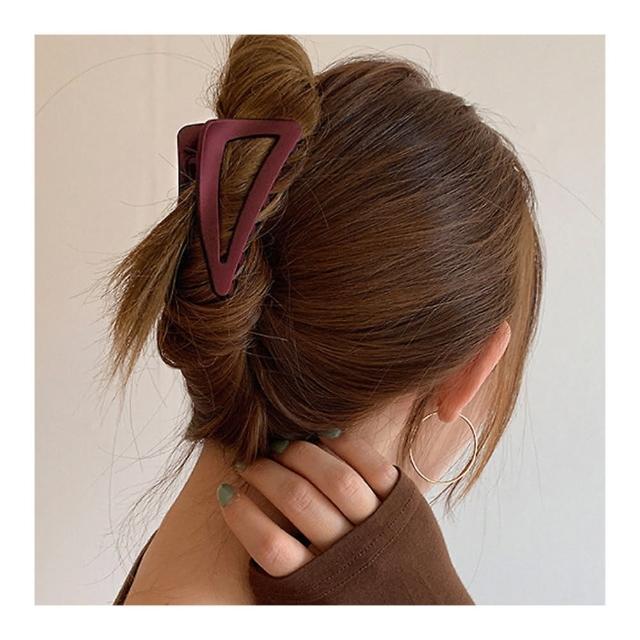 【HaNA 梨花】韓國簡單居家盤髮彩色組合一手包.三角亞克力抓夾3件套