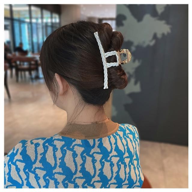 【HaNA 梨花】韓國簡單居家盤髮妙計.金屬繩結編織一字抓夾