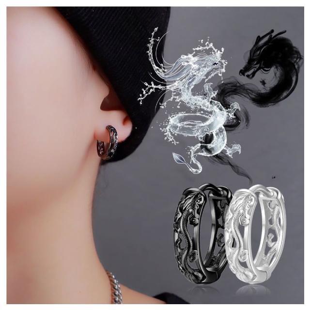 【HaNA 梨花】中國風格雕花龍顏中性.銀男女中性圈圈耳環