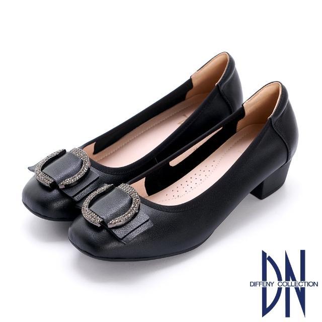 【DN】跟鞋_水鑽裝飾金屬釦真皮低跟鞋(黑)