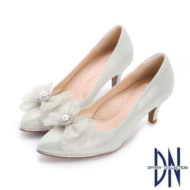 【DN】晚宴鞋_MIT真皮珍珠蝴蝶結尖頭跟鞋(銀)