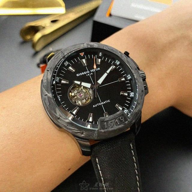 【GIORGIO FEDON 1919】喬治飛登1919男錶型號GF00024(黑色錶面槍灰色錶殼深黑色真皮皮革錶帶款)