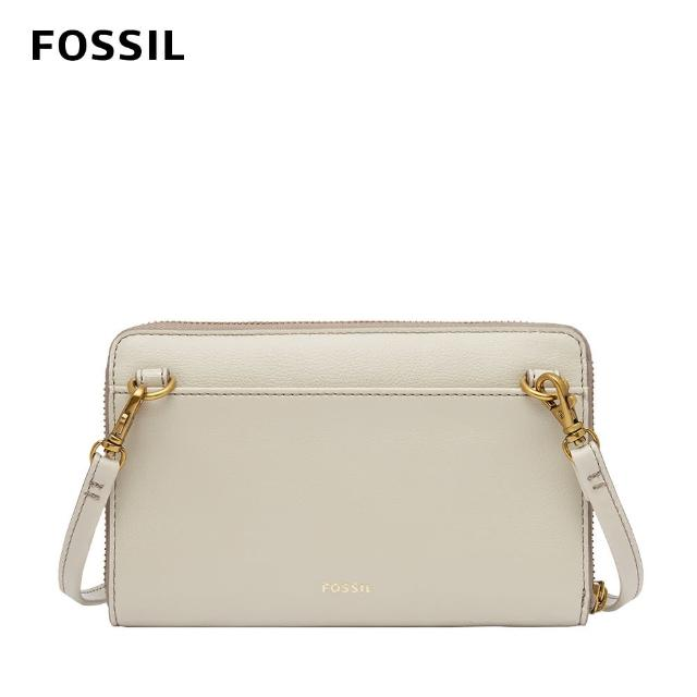 【FOSSIL】Faye 可斜背式長夾小包WOC-米色 SWL2605258
