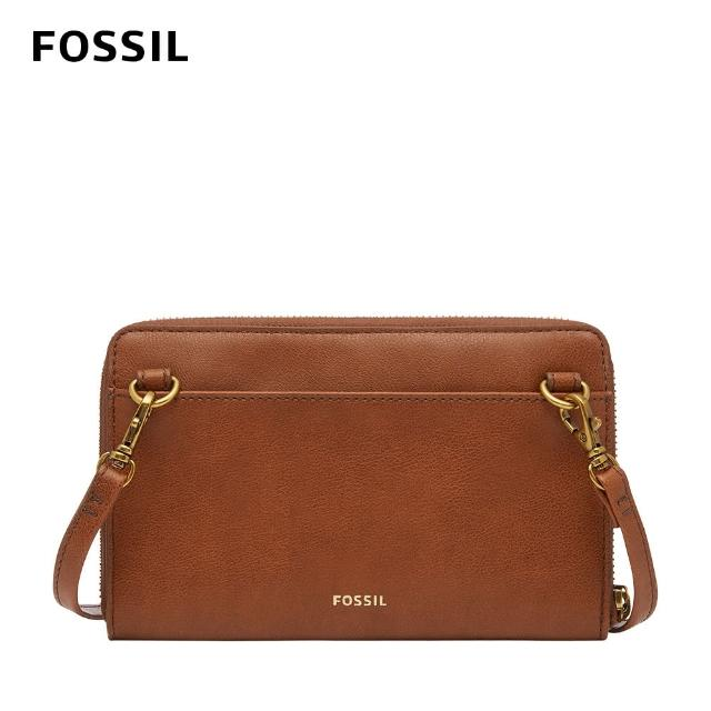 【FOSSIL】Faye 可斜背式長夾小包WOC-咖啡色 SWL2572213