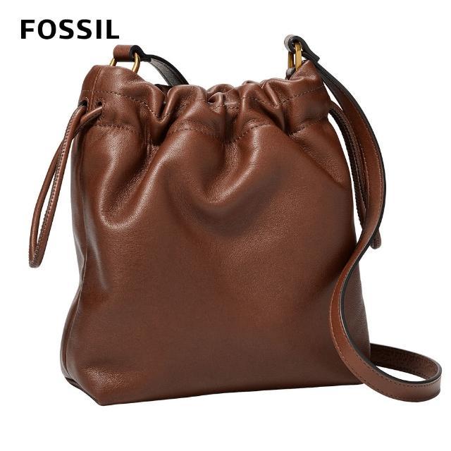 【FOSSIL】Gigi 真皮束口雲朵包-咖啡色 ZB1526200