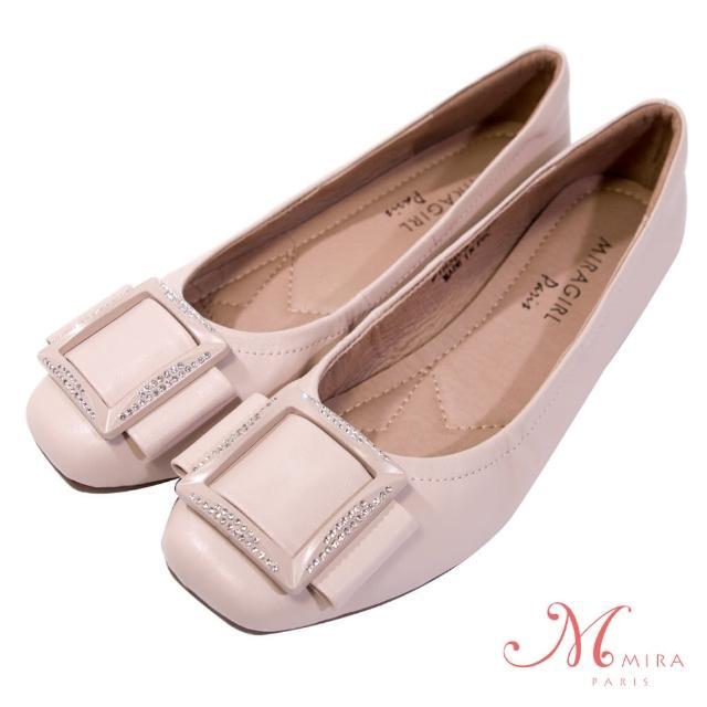 【MIRA】方釦鑲鑽方頭真皮低跟鞋-柔粉色-W18397N12