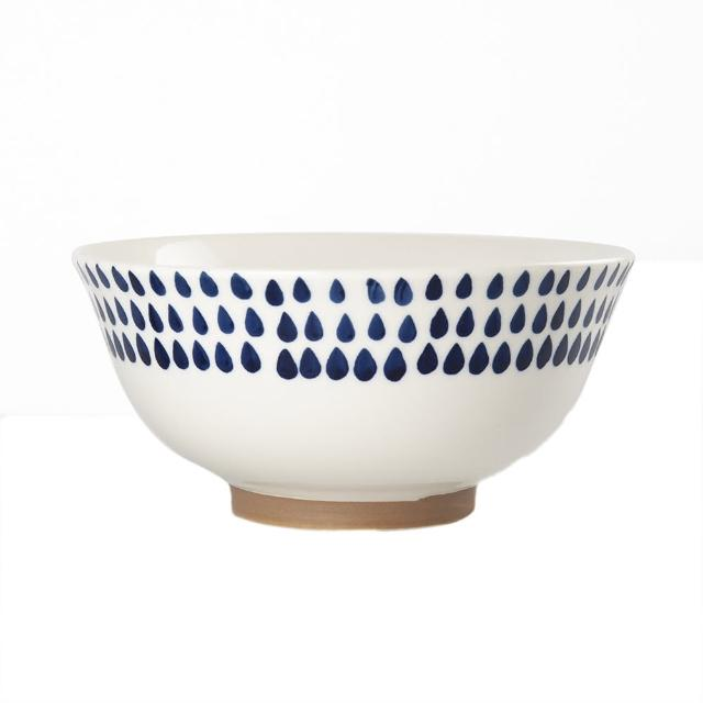 【Royal Duke】復古手繪藍彩系列-6.5吋碗-雨點(復古 彩繪 條紋 樹枝 方塊 雨 陶瓷 小碗 飯碗)