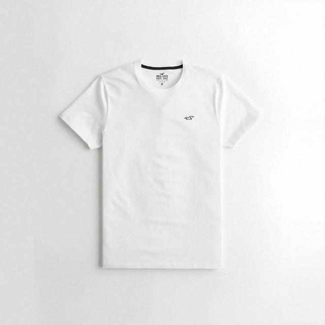 【HOLLISTER Co】Hollister 經典圓領刺繡小海鷗素面短袖T恤-白色