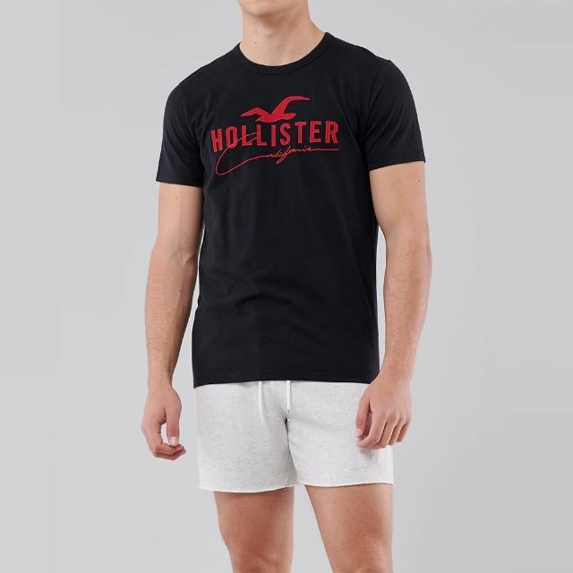 【HOLLISTER Co】Hollister 經典刺繡大海鷗圖案短袖T恤-黑色