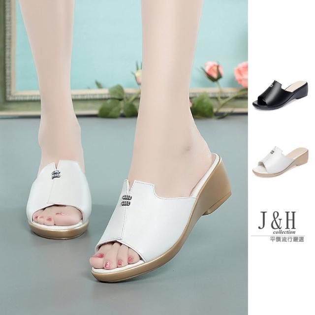 【J&H collection】時尚高檔魚嘴口真皮拖鞋涼鞋(現+預 黑色 / 白色)